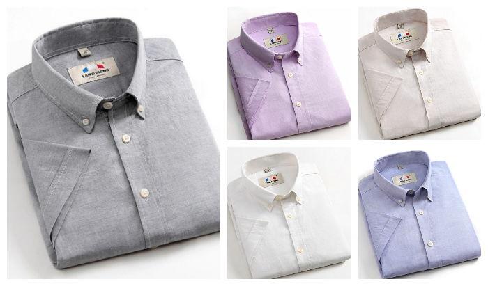 Camisa Casual de 100% Algodão Manga Curta - Tons Claros - em 5 Cores