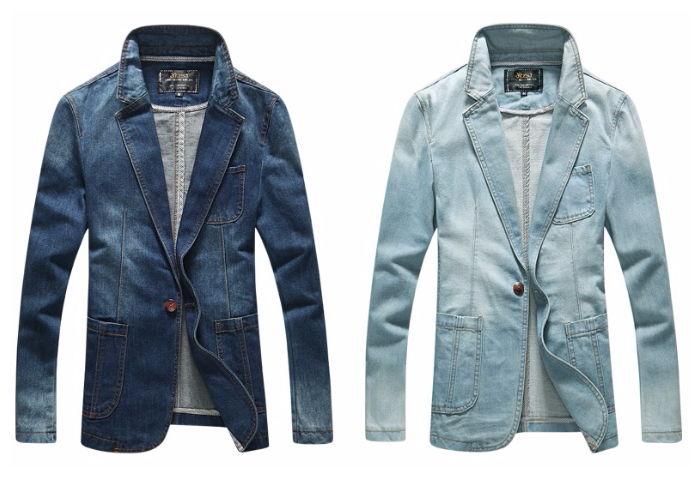 Blazer Jeans Fashion Casual Um Botão - em Azul Escuro e Azul Claro