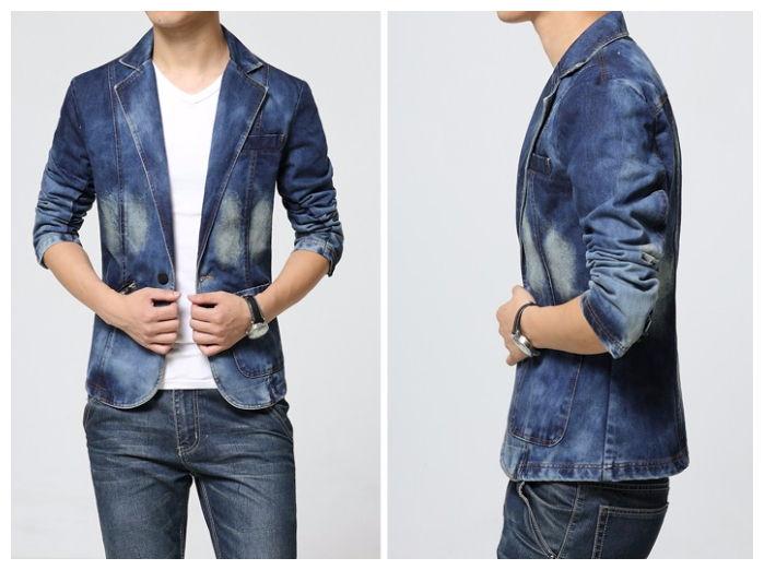 Blazer Jeans Fashion Um Botão - Desenho Retrô - Azul