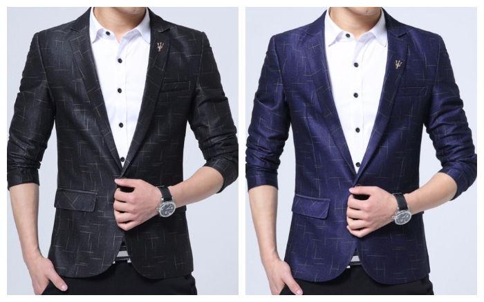 Blazer Elegante e Sofisticado Xadrez Um Botão - Estilo Luxo - em Azul e Preto