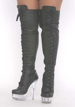 Botas em couro, tipo coturno, over the knee boots.