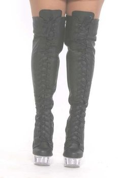 Botas em couro, tipo coturno, over the knee boots. - comprar online