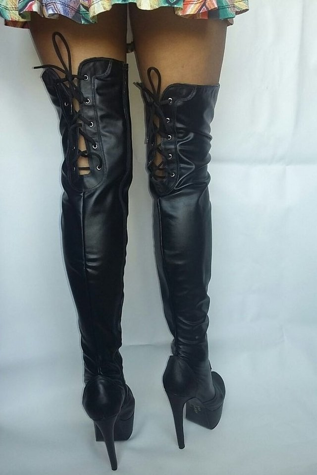 BOTAS OVER THE KNEE, EM COURINO COM ELASTANO, SALTO COM 15 CM DE ALTURA - ::: Sexy Shoes - Calçados sensuais :::