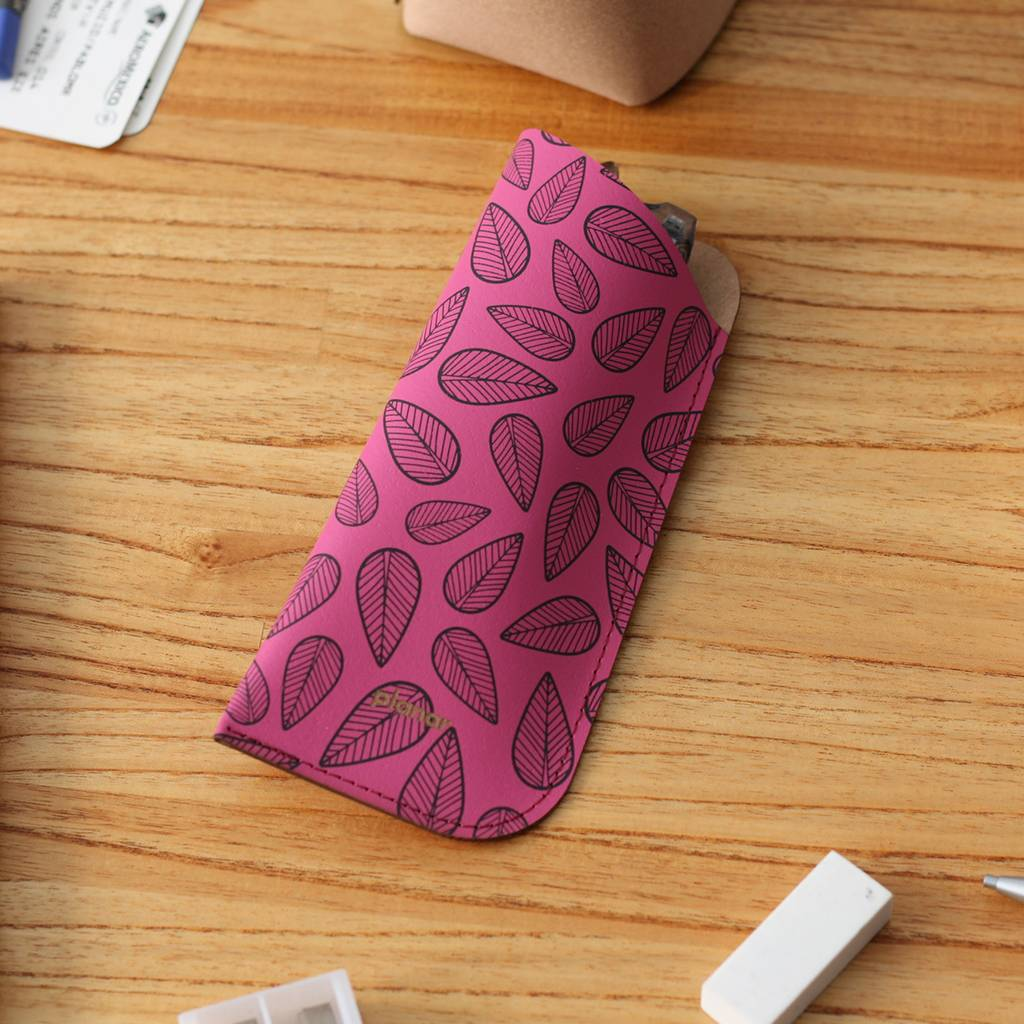 Glasses Sleeve Leaves Pink