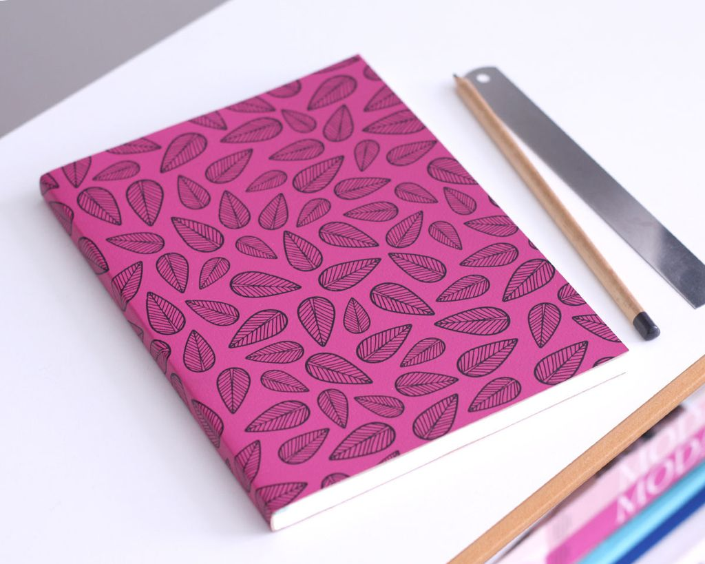 A5 Notebook Leaves Pink