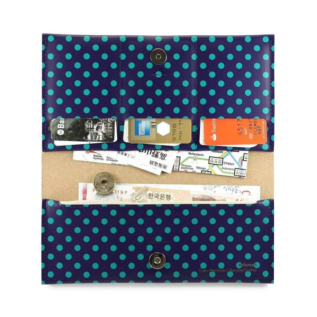 L Wallet Dots Green