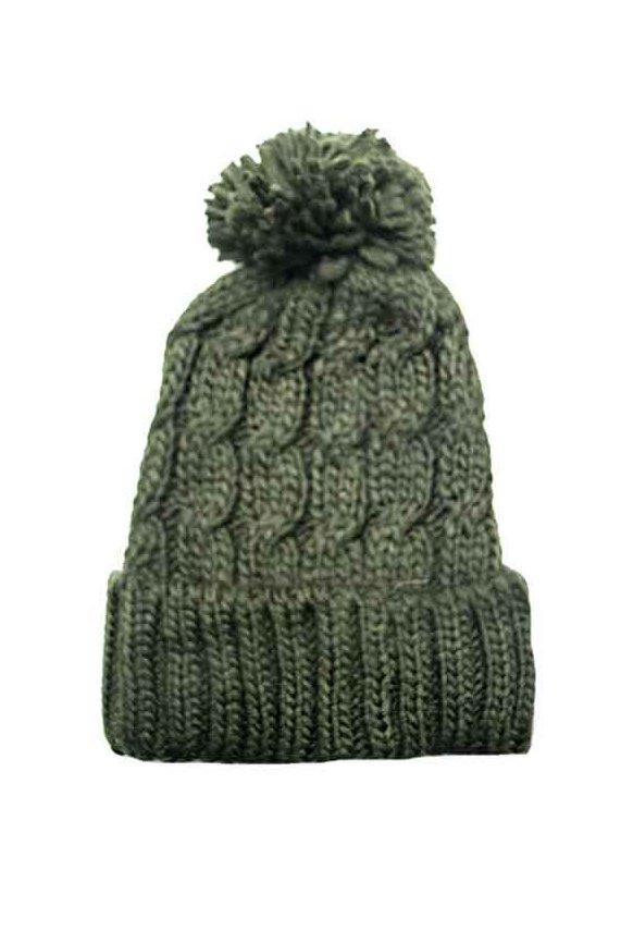 Gorro de lana trenzado con pompón f49e032774b
