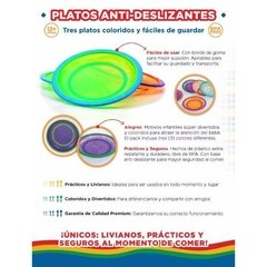 Platos Anti-deslizantes De Colores X 3 Unid Baby Innovation -89 en internet