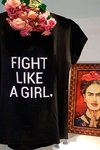 T-shirt em viscolycra - Fight like a girl