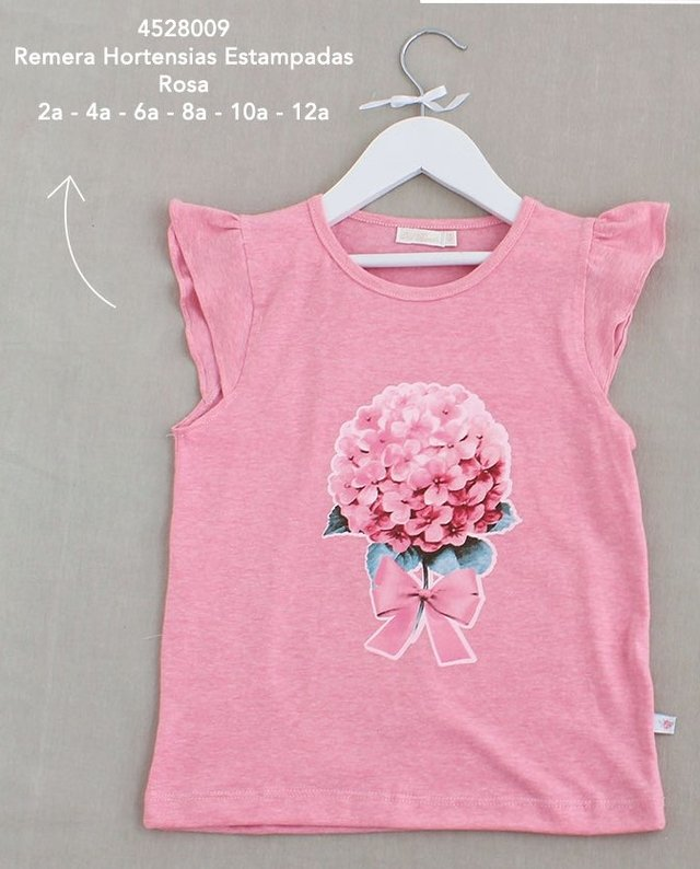 45280009 Remera Hortensias Estampadas Rosa