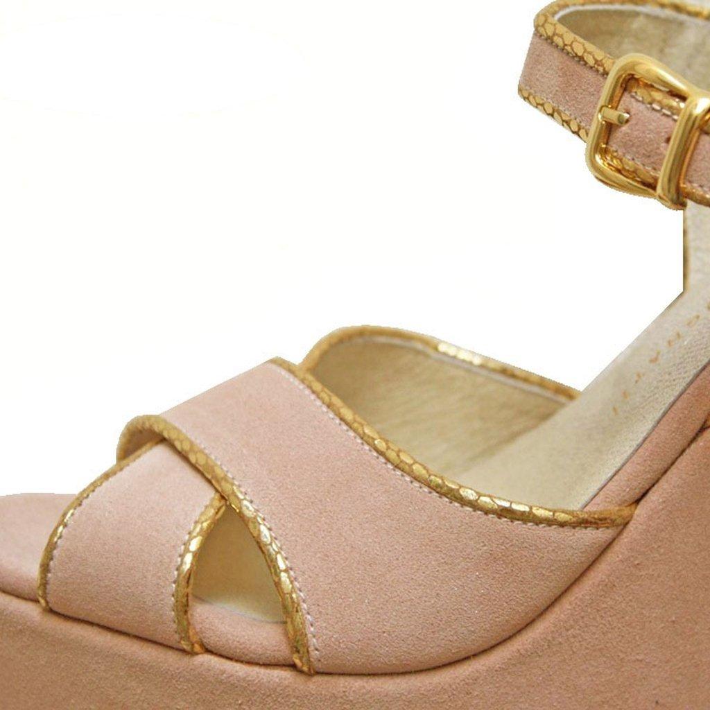 b822bda4 100% Zapatos de novia. Sandalias rosa y doradas. VALENTINA COLUGNATTI REAL  SHOES.