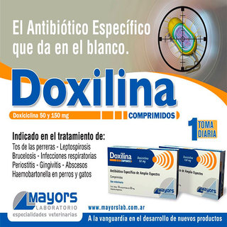 Doxilina antibiotico via oral en comprimidos del Laboratorio Mayors