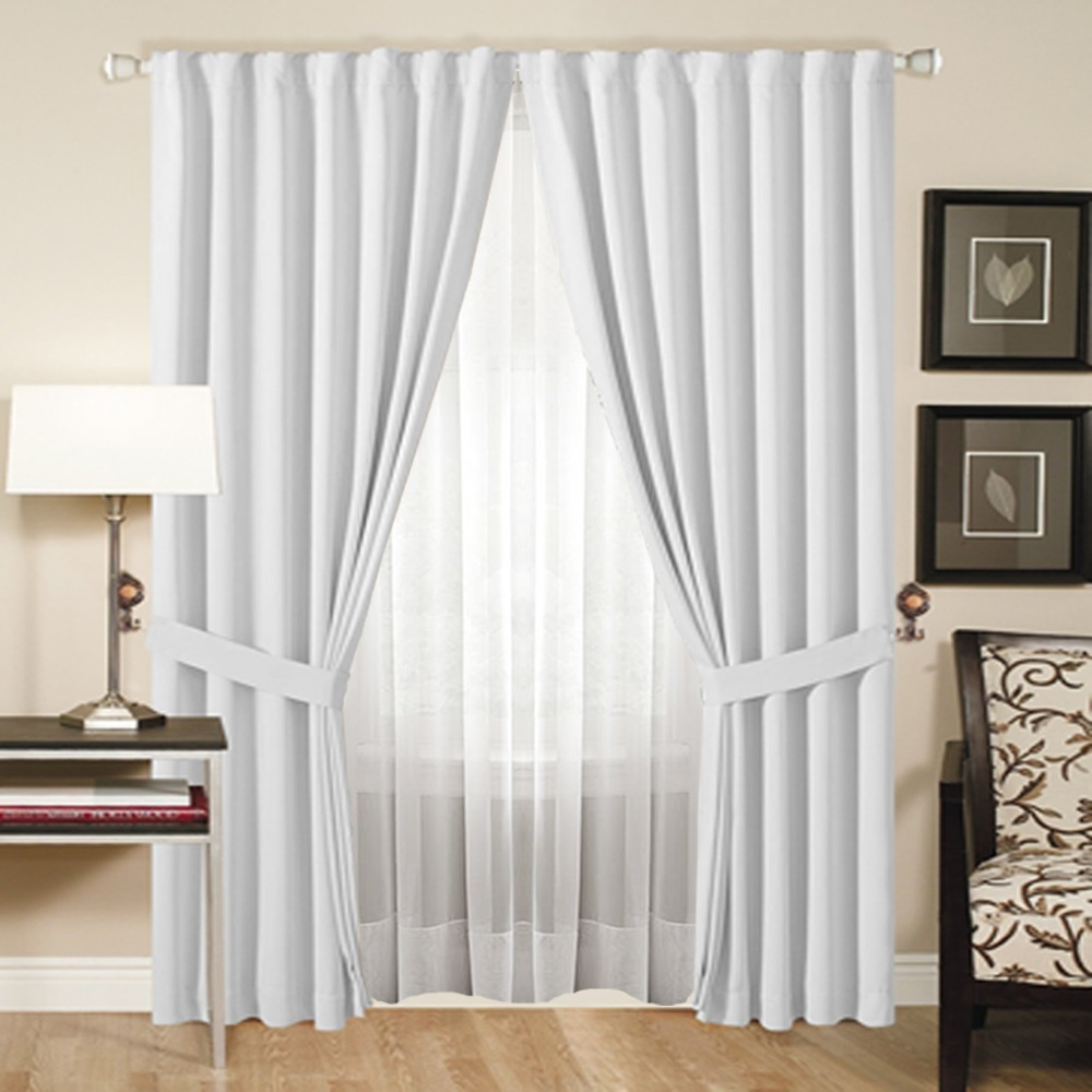 Juego de cortina doble blackout voile 4 pa os for Cortinas blancas modernas
