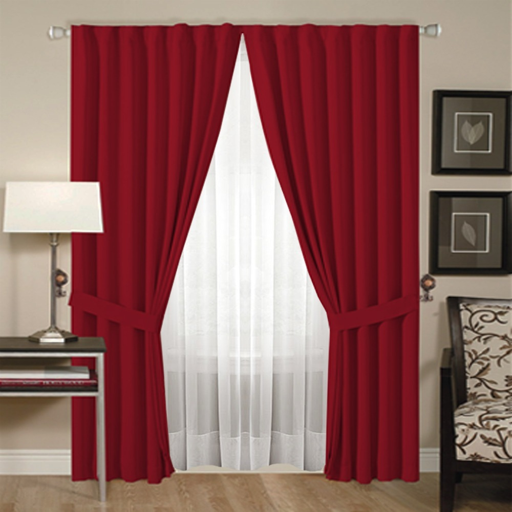 Juego de cortina doble blackout voile 4 pa os for Cortinas blancas para sala