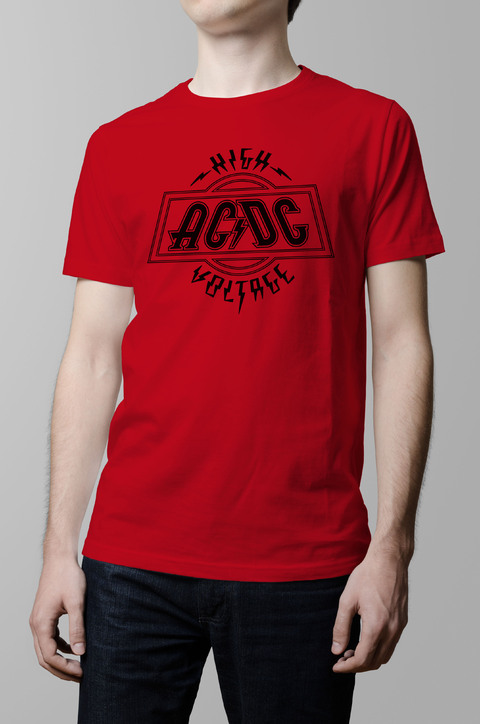 Remera Ac Dc high voltage roja hombre