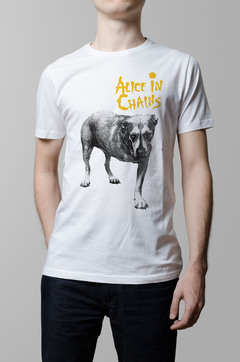 Remera Alice in Chains blanca hombr