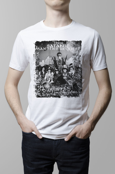 Remera The Rolling Stones Satanic Majesties blanca hombre