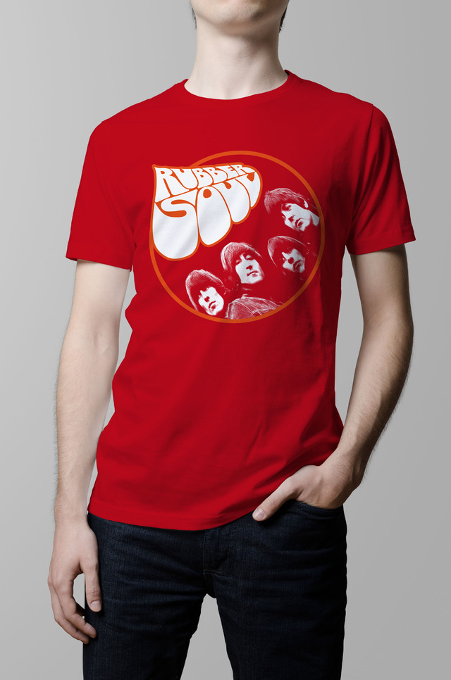 Remera The Beatles rubber soul roja hombre
