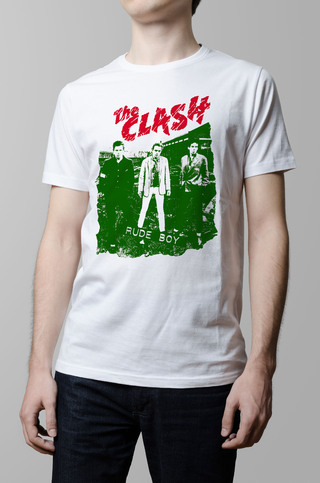 Remera The Clash rude boy blanca hombre