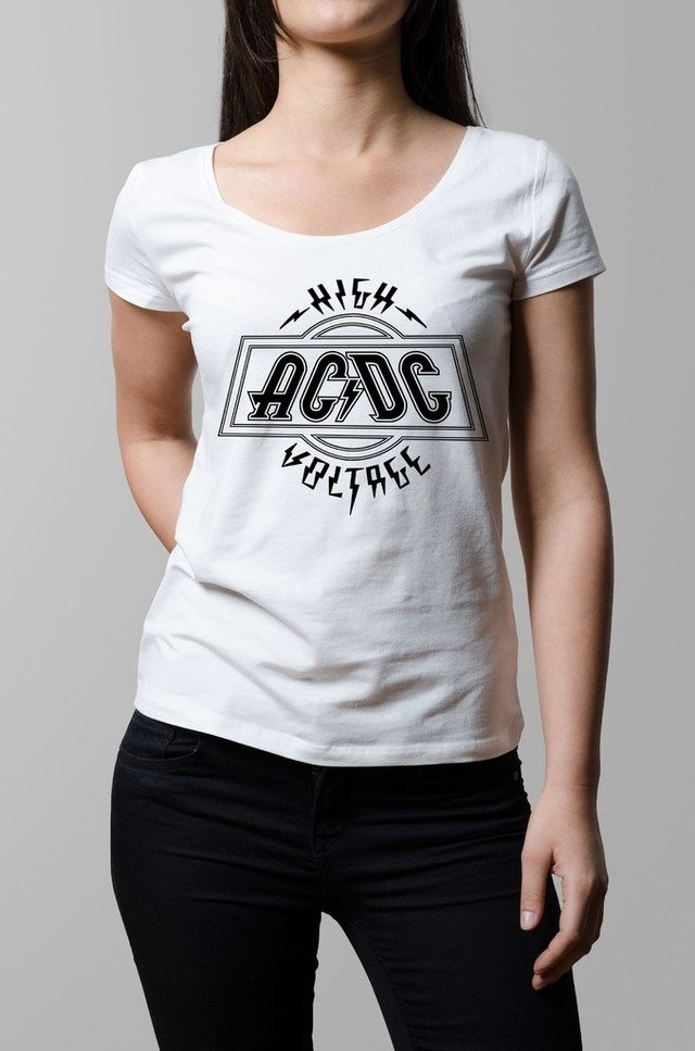 Remera Ac Dc high voltage blanca mujer