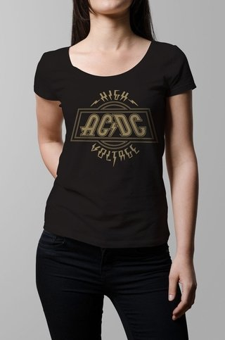 Remera Ac Dc high voltage negro mujer