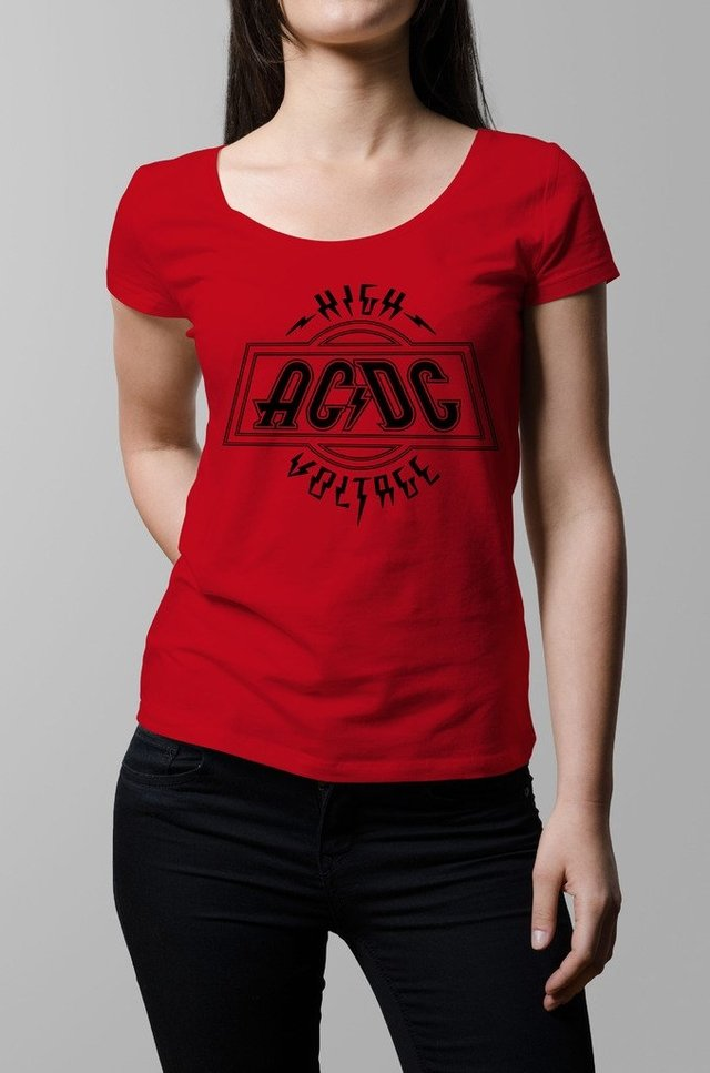 Remera Ac Dc high voltage roja mujer