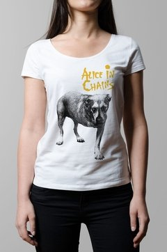 Remera Alice in Chains blanca mujer