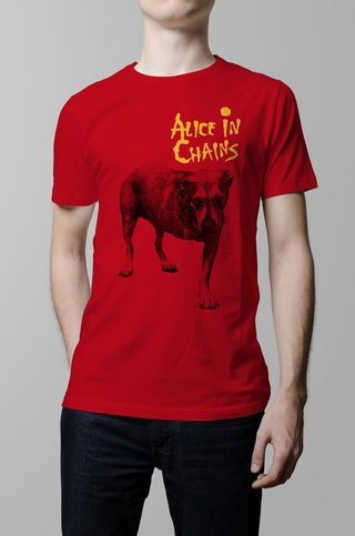 Remera Alice in Chains roja hombr