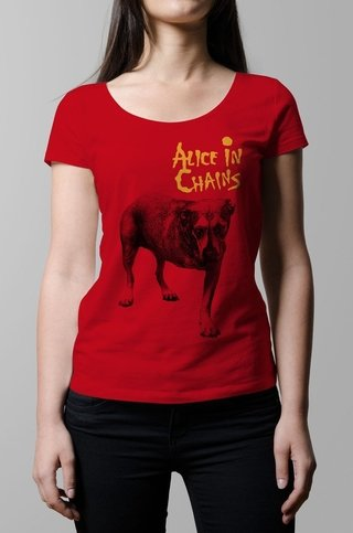 Remera Alice in Chains roja mujer