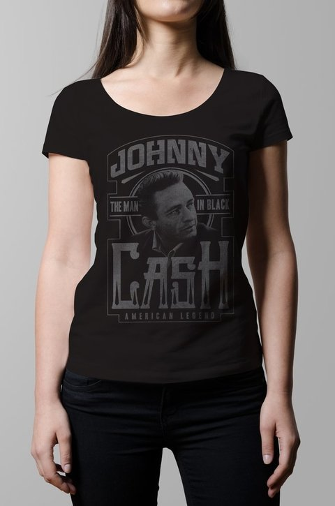 Remera Johnny Cash negro mujer