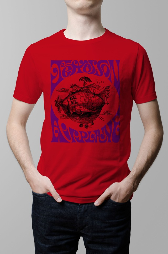 Remera Jefferson Airplane roja hombre