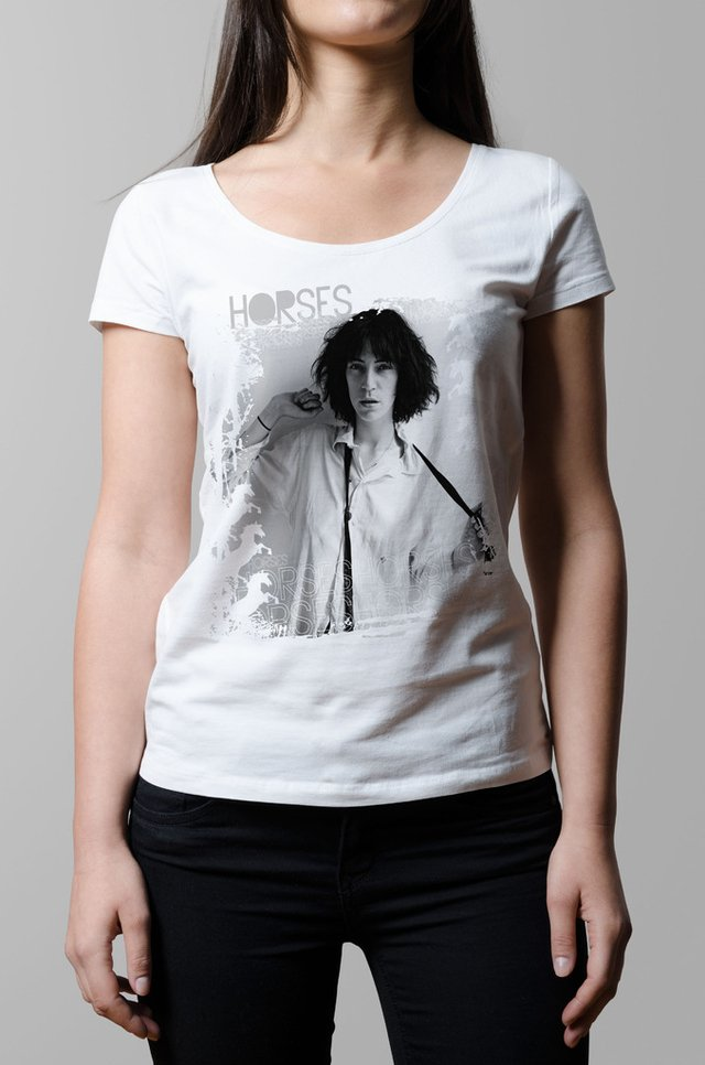 Remera Patti Smith Horses blanca mujer