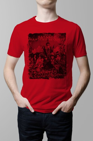 Remera The Rolling Stones Satanic Majesties roja hombre
