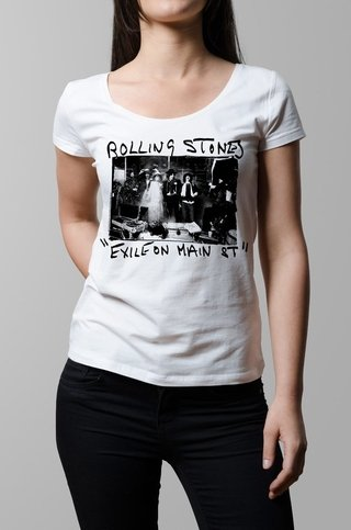 Remera Rolling Stones exile on main street blanca mujer