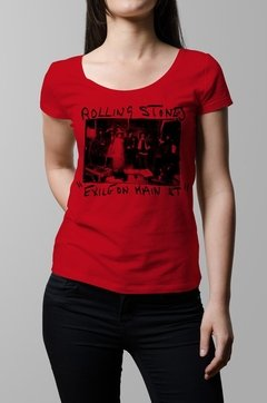 Remera Rolling Stones exile on main street roja mujer