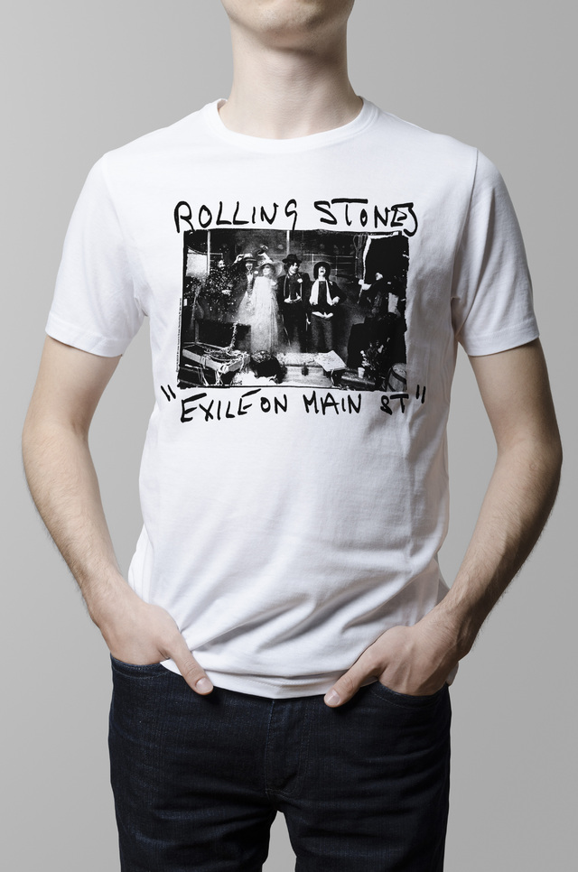 Remera Rolling Stones exile on main street blanca hombre