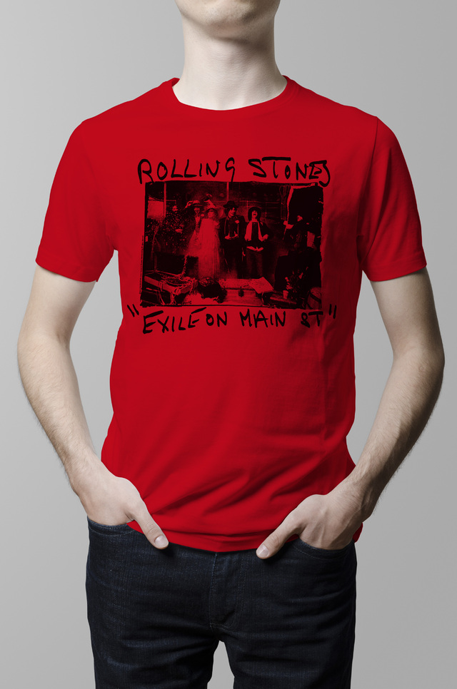 Remera Rolling Stones exile on main street roja hombre