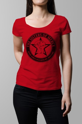 Remera roja Sisters of Mercy mujer