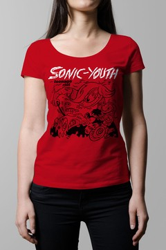 Remera Sonic Youth teenage riot roja mujer
