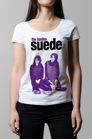 Remera suede metal mickey blanca mujer