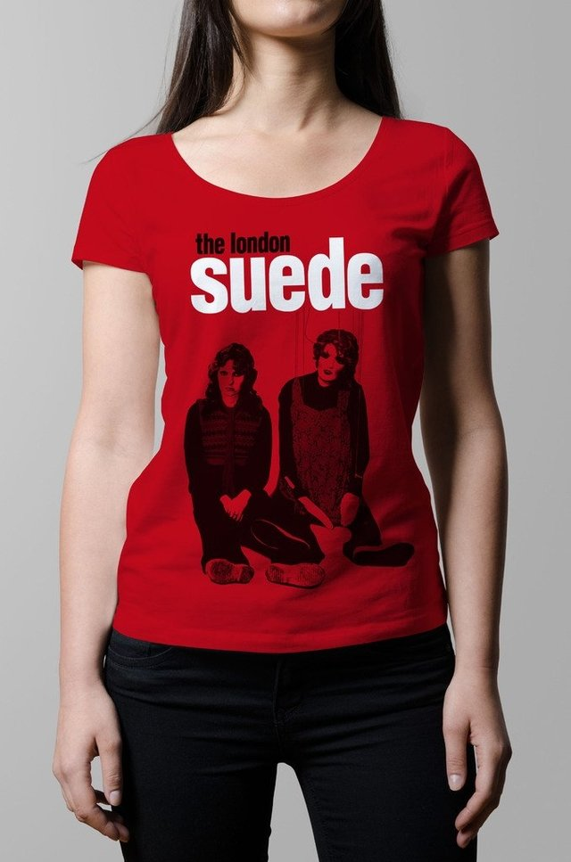 Remera suede metal mickey roja mujer