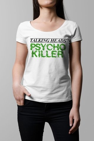 Remera Talking Heads Psycho Killer blanco mujer
