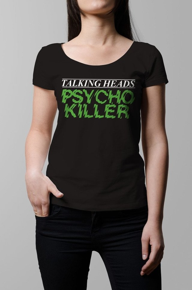 Remera Talking Heads Psycho Killer negra mujer