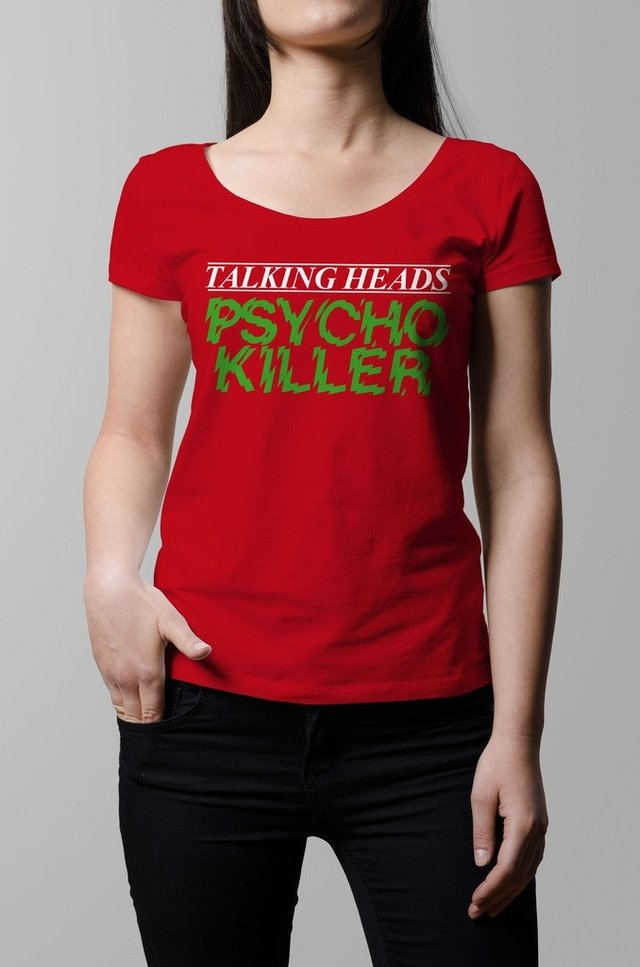 Remera Talking Heads Psycho Killer roja mujer