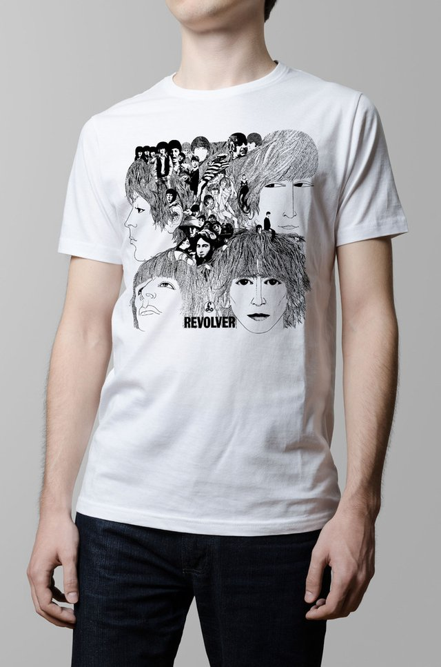 Remera The Beatles Revolver blanca hombre