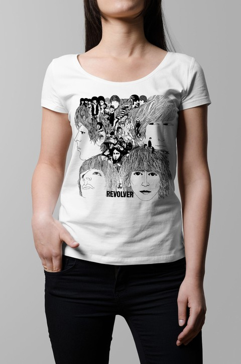 Remera The Beatles Revolver blanca mujer