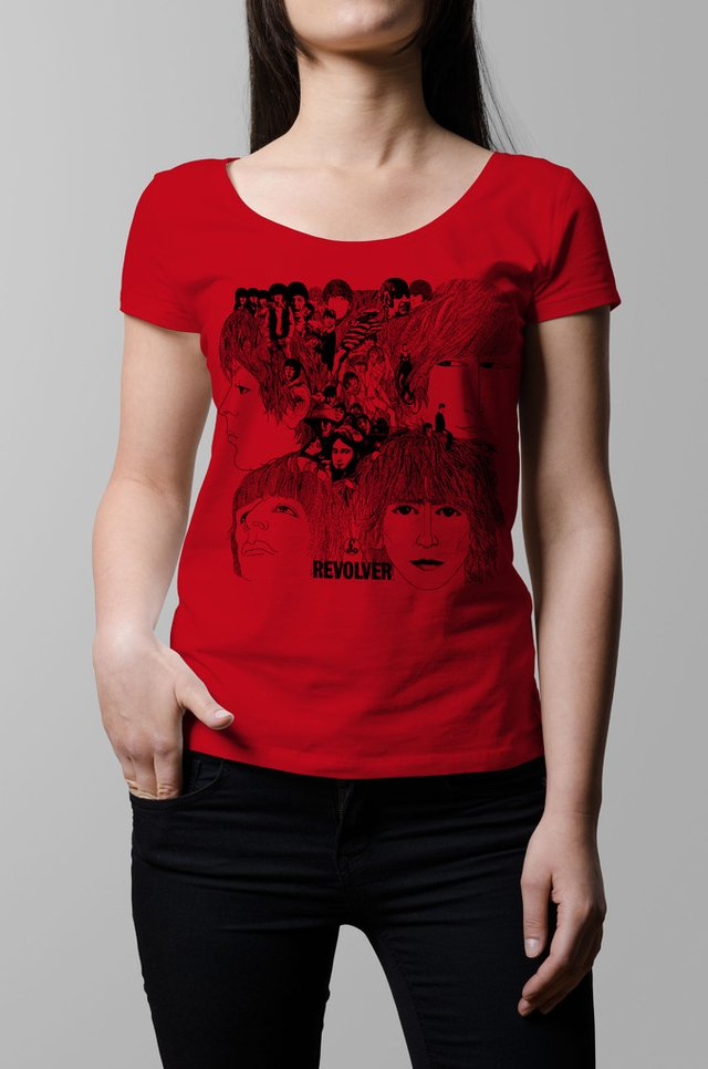 Remera The Beatles Revolver roja mujer