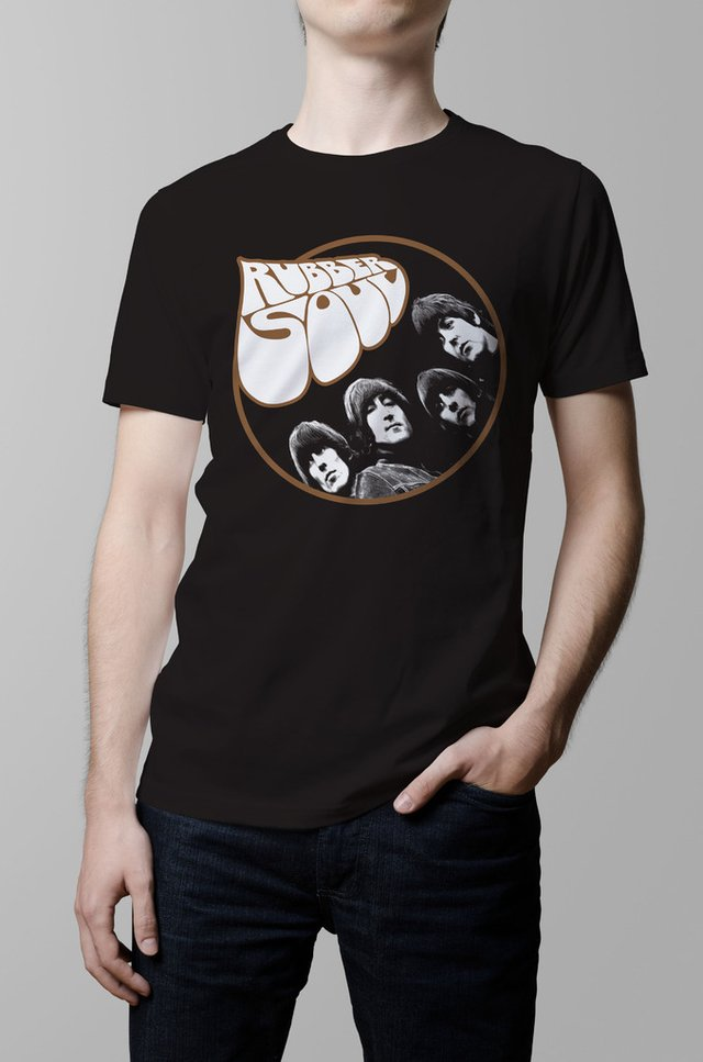 Remera The Beatles rubber soul negra hombre