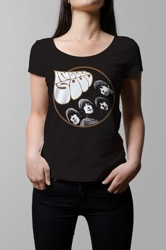 Remera The Beatles rubber soul negra mujer