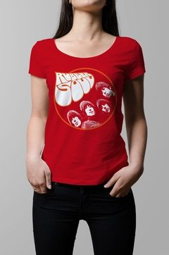 Remera The Beatles rubber soul roja mujer